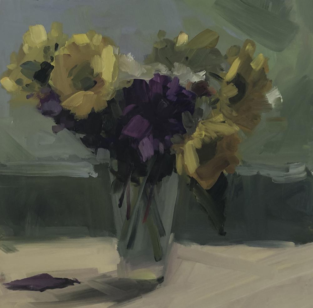 Sunflowers and Dahlias, Hazy Afternoon