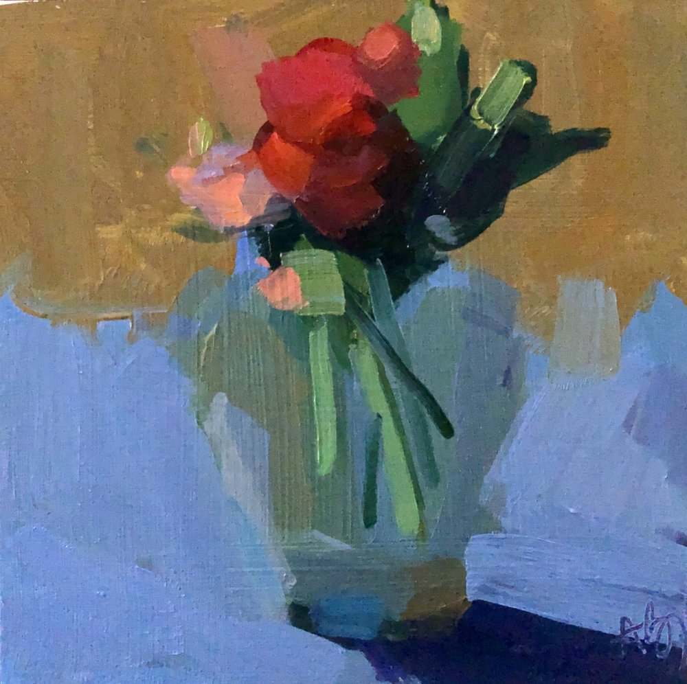 Rose and Carnations, 8 x 8, oil on panel.