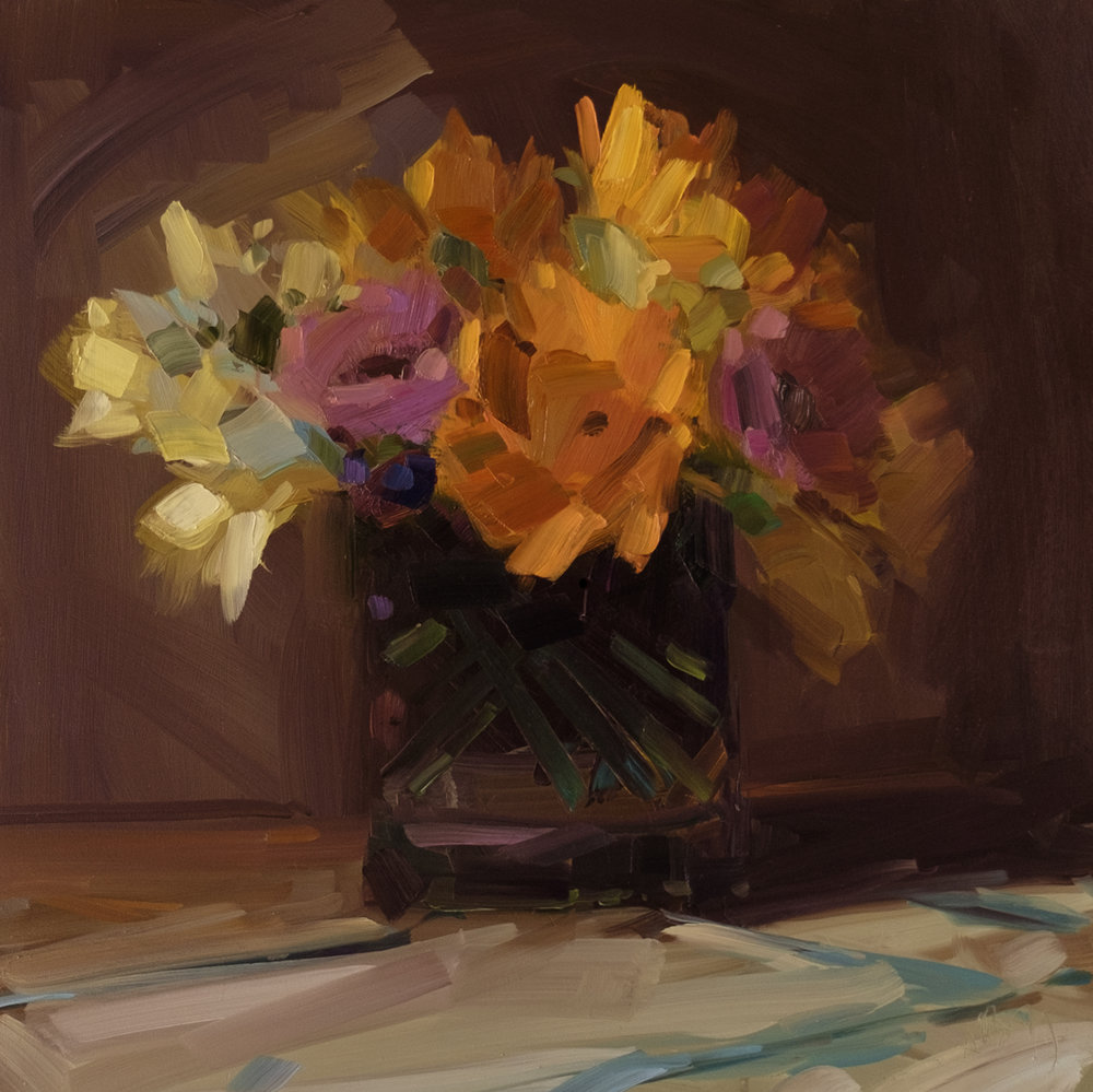 Daffodils, Sunflowers, and Gerbers, 14 x 14, 2019. Oil on panel.