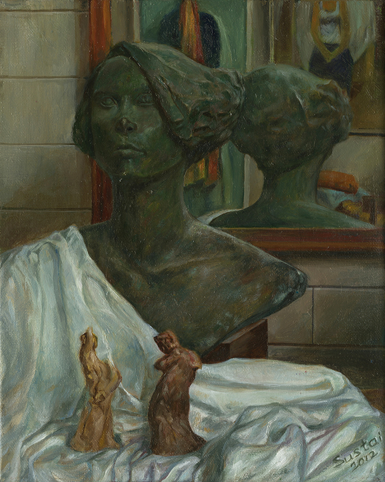 still life with bronze bust