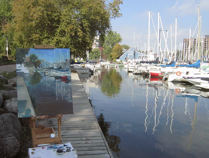 Had a great out door painting experience at the Oakville harbour,beautiful weather and view, nice and quiet, the only interrupt was a cute little weasel run pass by my foot.