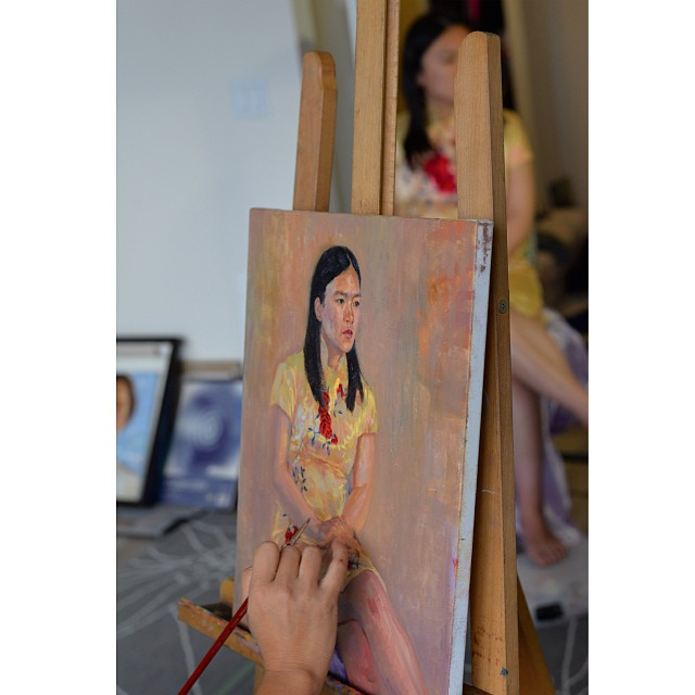 life painting with my friend Emily #oilpainting #painter #portrait #lifepainting
