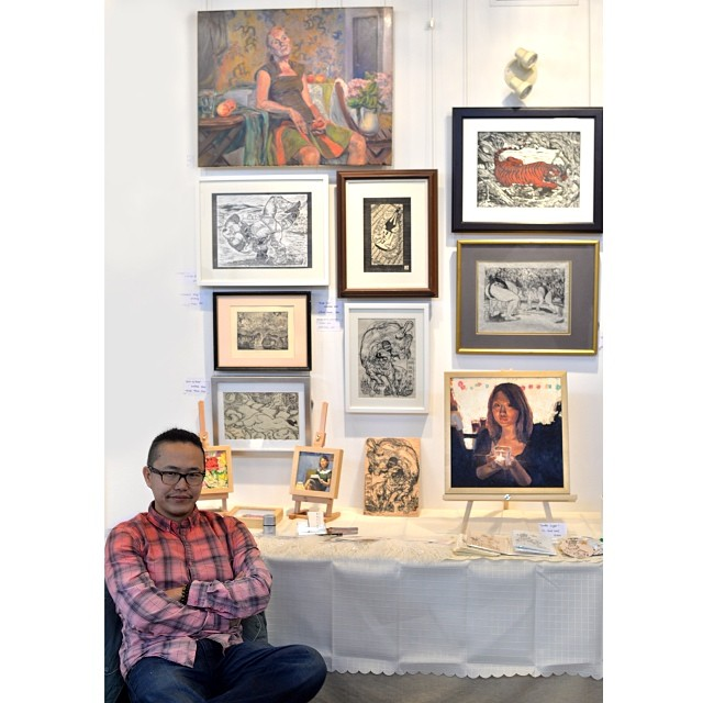 I shared a small booth with @tianyuart at Mississauga Holiday Artisan Marketplace last weekend. #artshow #artexhibition #printmaking #oilpainting