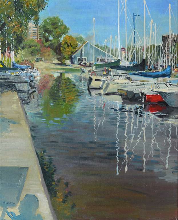 here is a finished looking of a painting i did about one month ago , the Oakville Harbour