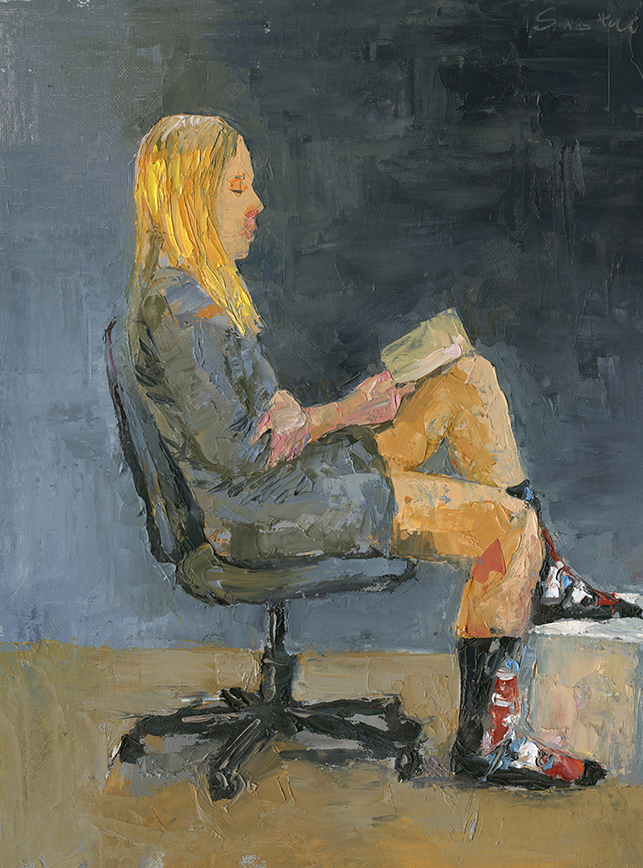 girl reading, pallet knife