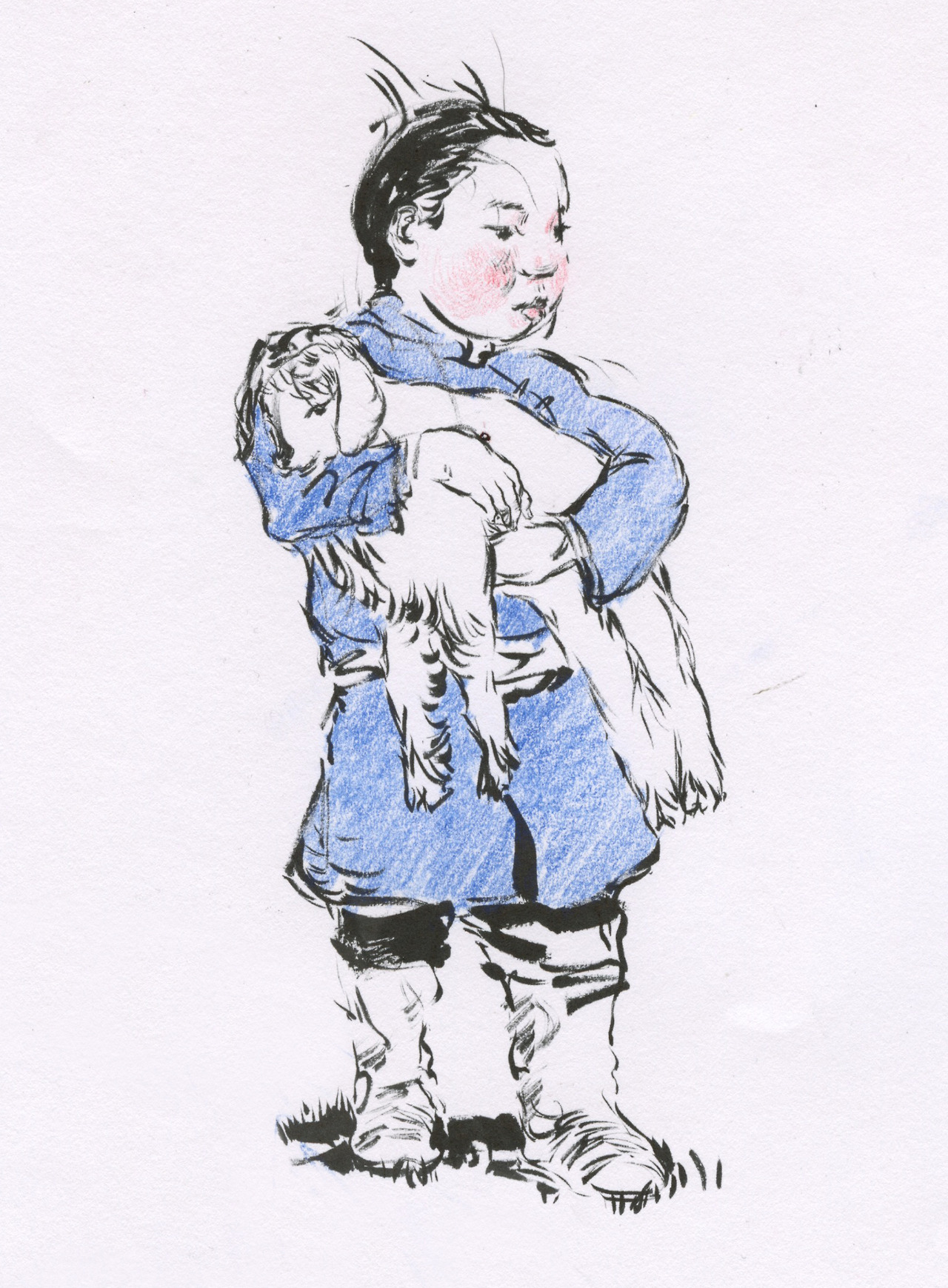Sketch for painting,   Mongolian kid holding a lamb
