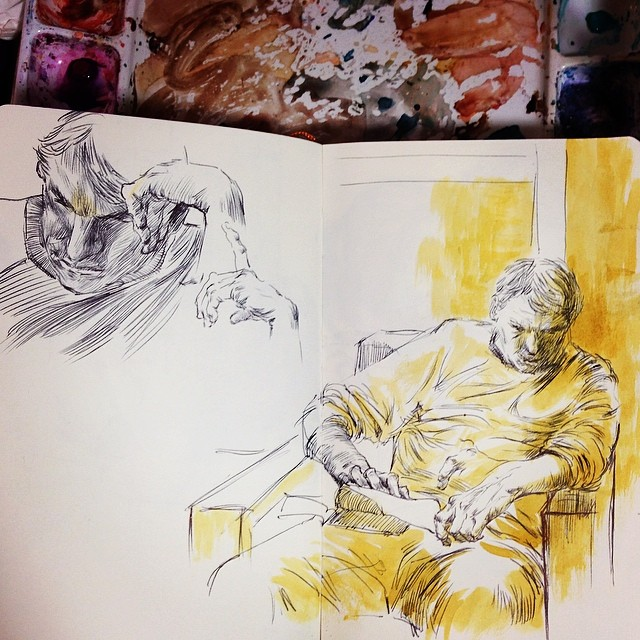 A man fell asleep well reading is always an easy target to draw. #drawing #sketch #coffeehouse #ballpointpen #inkwash #mixmedia #lifedrawing