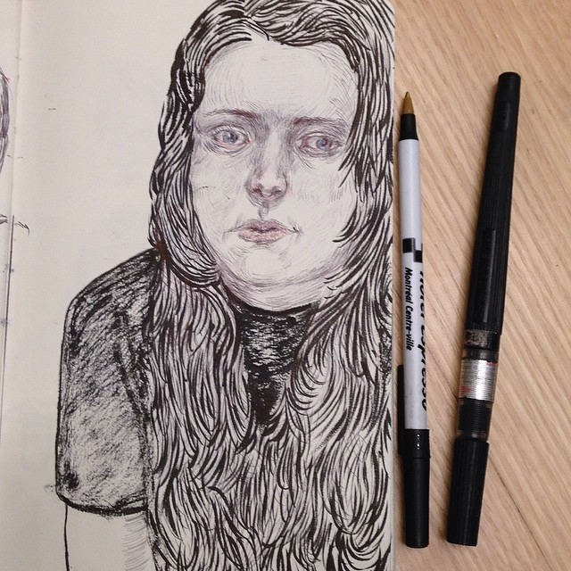 anxious #drawing #inkdrawing #mixmedia #sketch #portrait