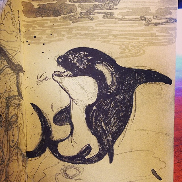 Killer whale, happy or sad #drawing #inkbrush #animaldrawing #killerwhale #illustration