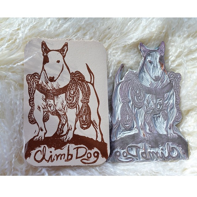 4x6 Linocut bull terrier greeting card, available at online store: http://www.etsy.com/ca/listing/170029077/climb-dogoriginal-linocut-greeting-card?ref=shop_home_active