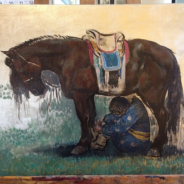 Progressing on the painting #painting #oilpainting #silverleaf #horse #mongolian