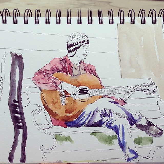 Interesting dude #sketching #pendrawing #guitarplayer #watercolor