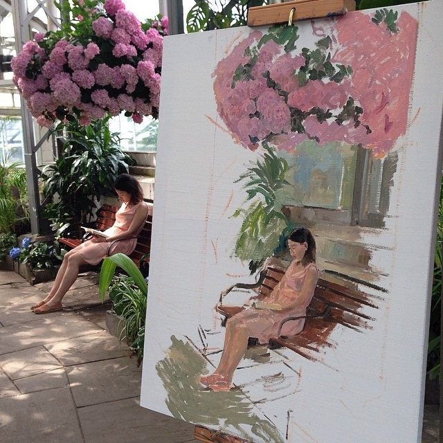 Session 2 #oilpainting #painting #fineart #allangardens #flowerpainting #reading