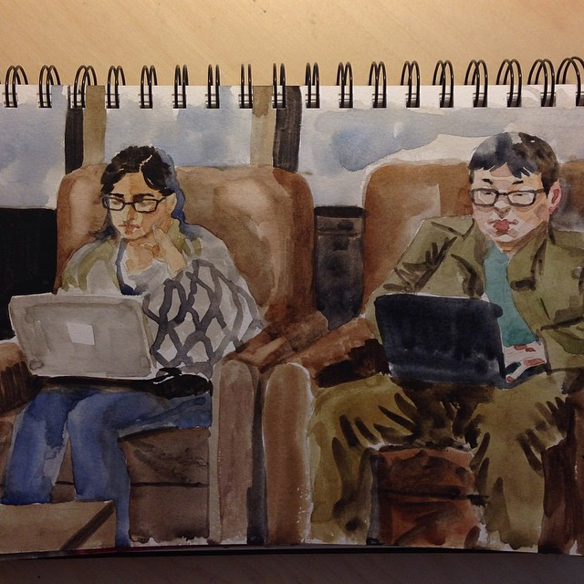 keep in touch #watercolor#painting#sketch#cafe