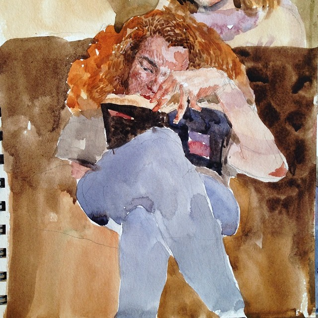 So relaxing #cafesketch#watercoloc#painting#reading#cafe