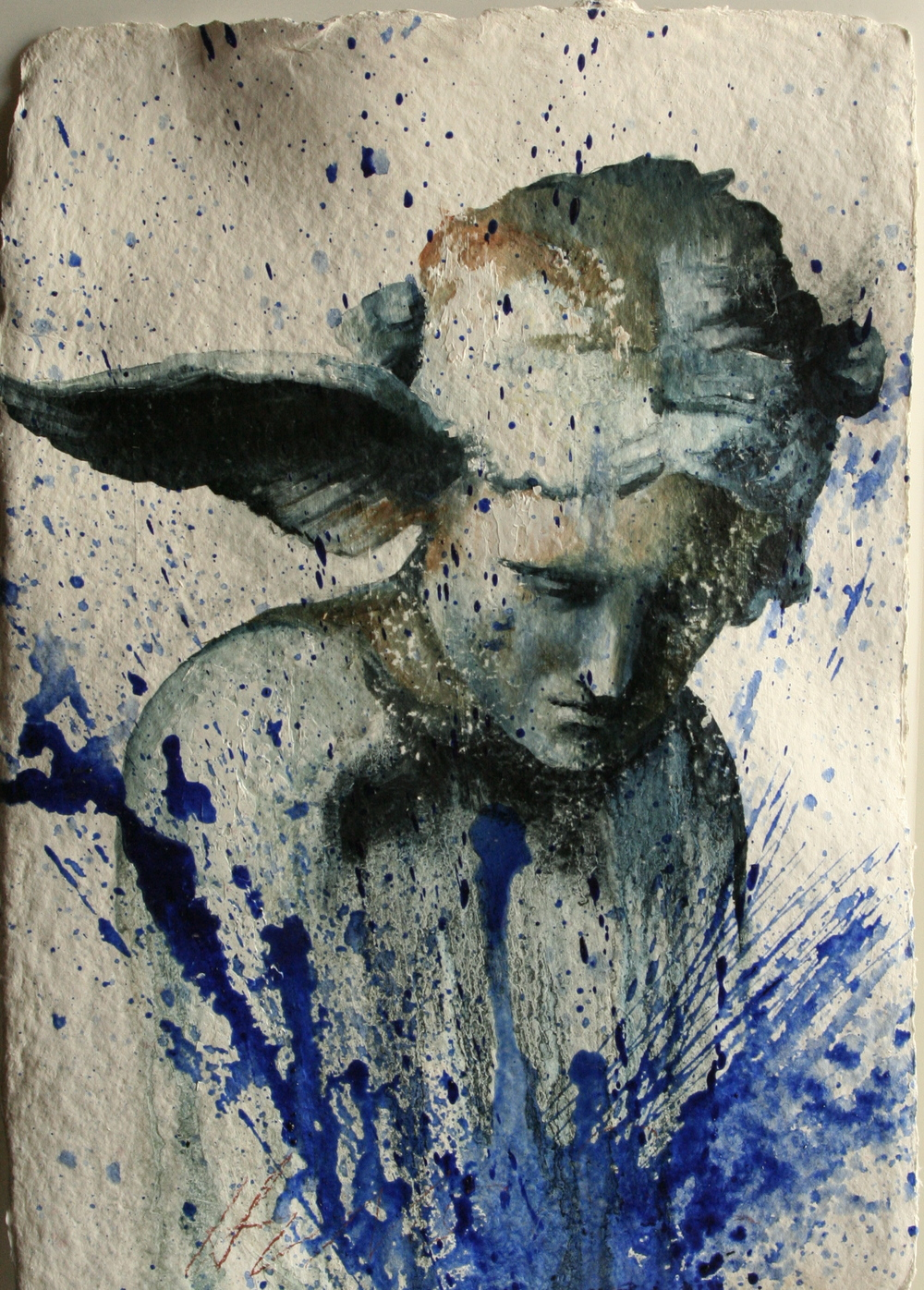 "Hypnos oil on handmade paper 14""x20"" 2011"