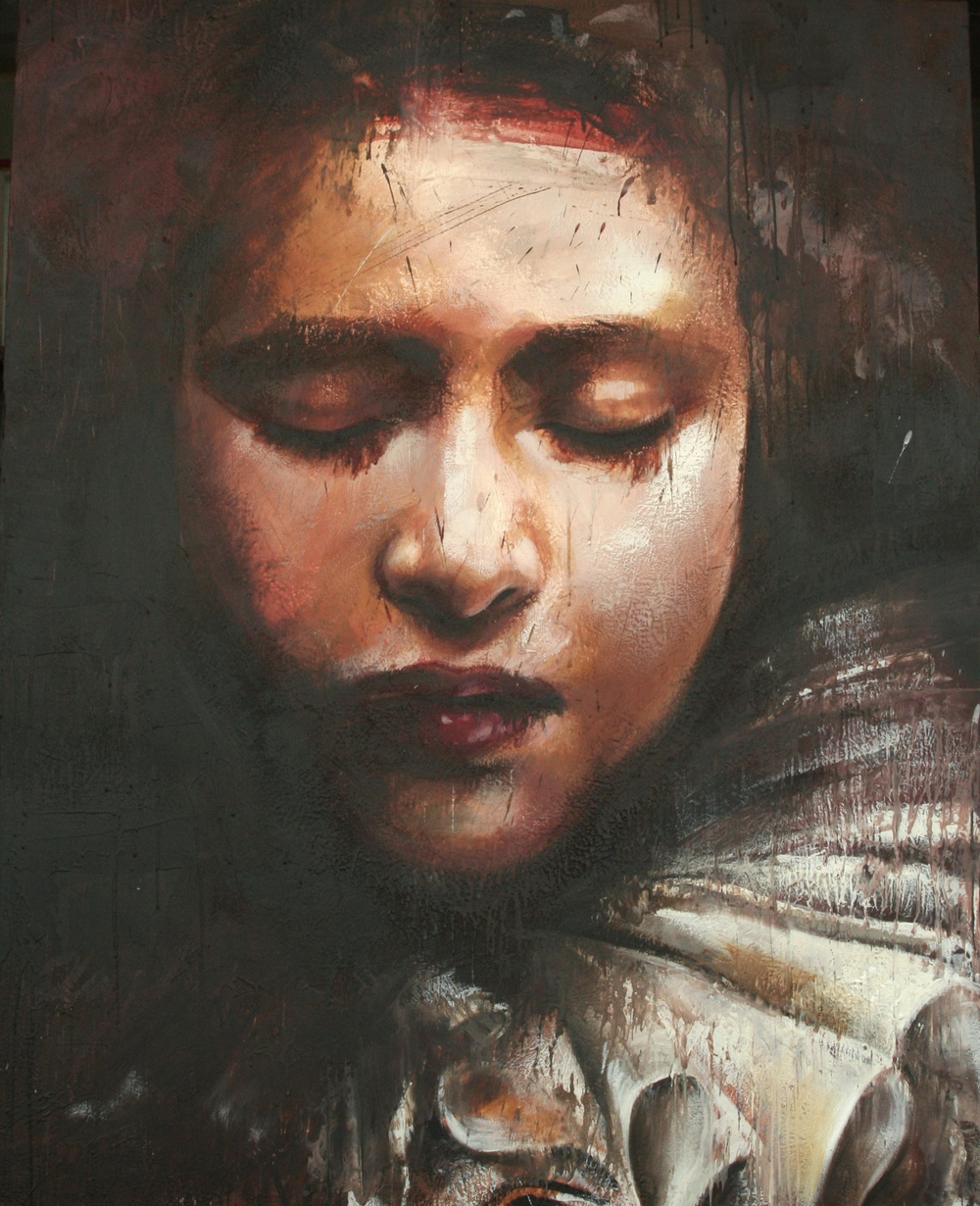 "She slept suspended from a star encaustic on canvas on board 48""x60"""