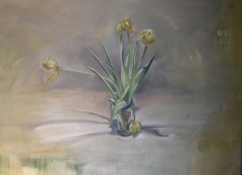"Dos equis - tulips 36""x38"" oil on canvas"