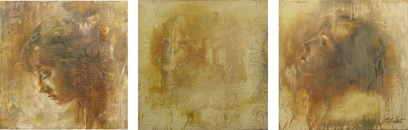 "Breathe 20""x60"" encaustic on canvas"