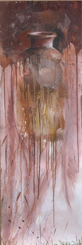 "The weight of our memories I encaustic/conte on stonehenge 13""x40"" 2009"