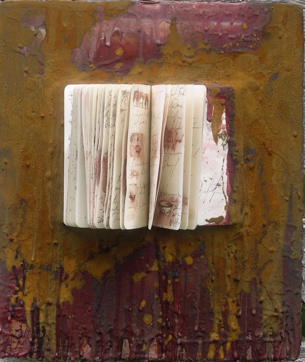 "Little Words 16""x20"" sketchbook and encaustic"