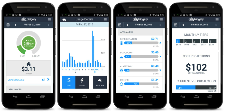 HomeBeat Web & Mobile – iOS and Android App showing real-time energy use, daily costs, appliance costs, and bill projection