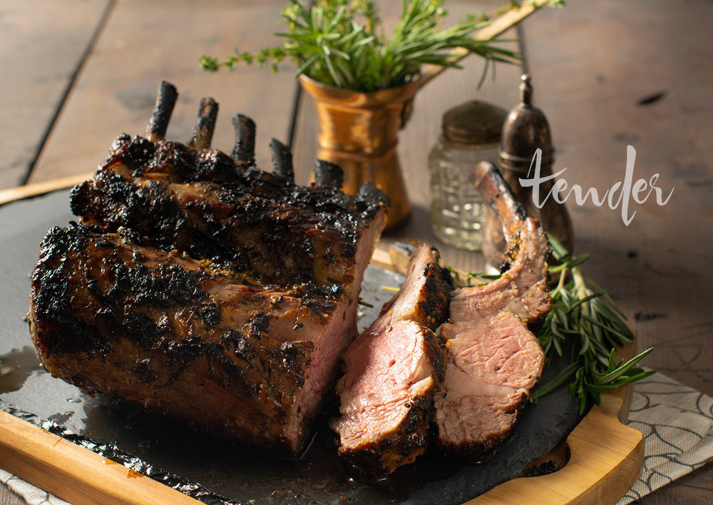 Char grilled rack of lamb with rosemary