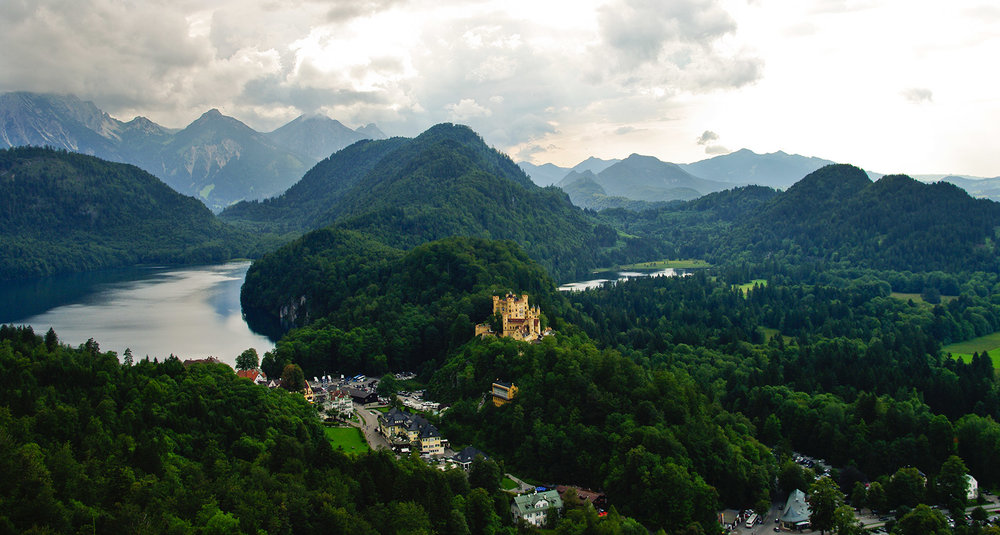 Bavaria mountains with castle in Germany