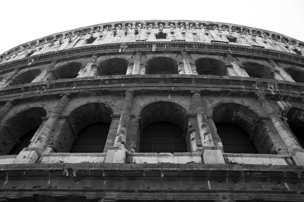 Exterior of the Colosseum in Rome Italy
