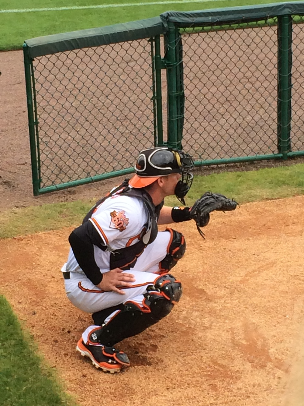 Matt Wieters in the bullpen prior to the Orioles taking on the Phillies at Ed Smith Stadium (photo credit: Paul Cooke)