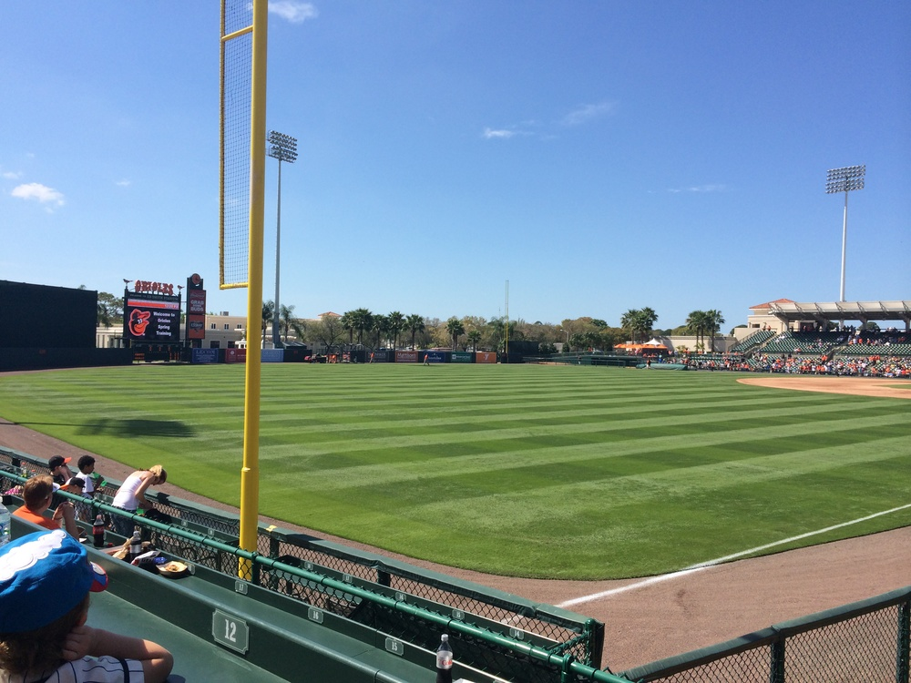 A view from the corner in left field at Ed Smith Stadium (photo credit: Tim Cooke)