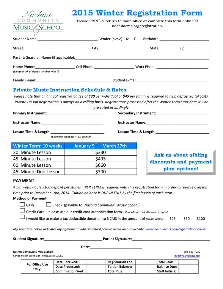 Winter  Registration Form Pdf View Only  Nashua Community