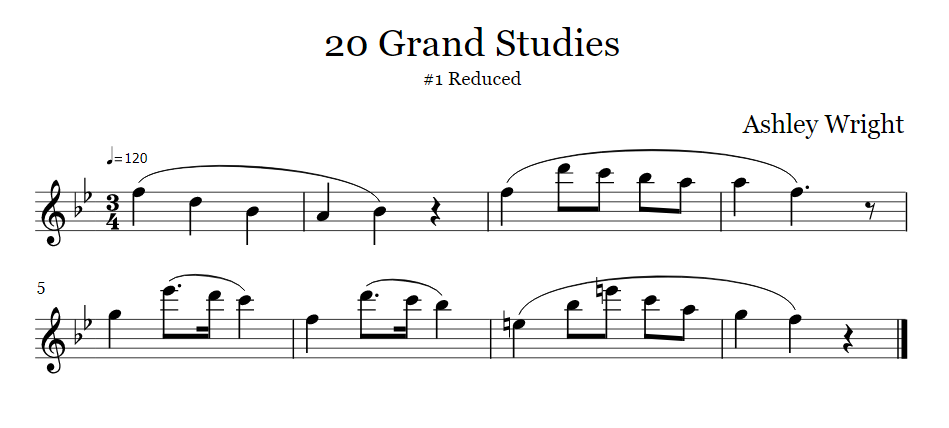 reduced 20 grand studies clarinet etude