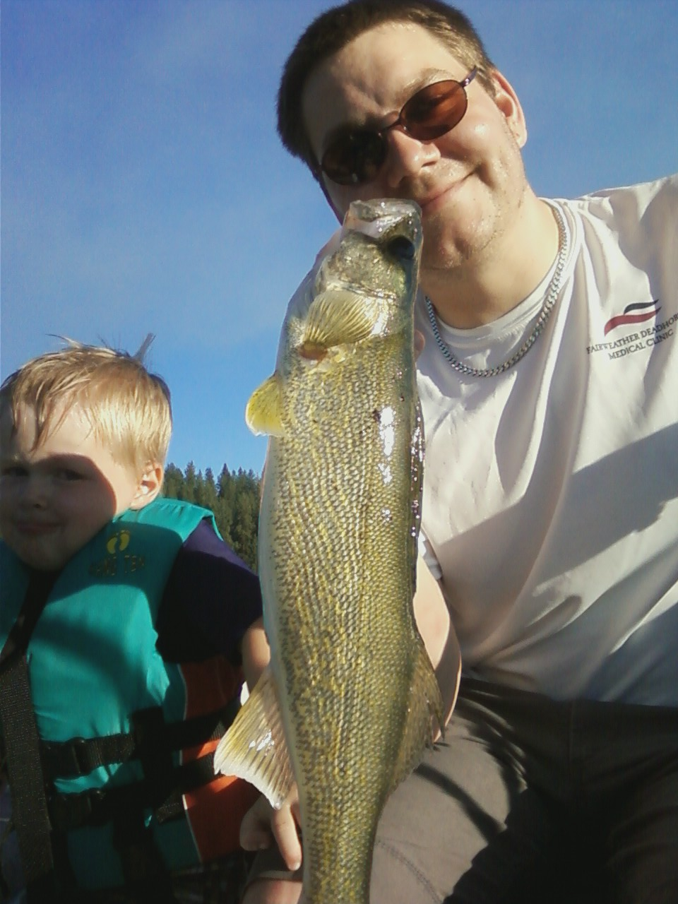 Chef David shows this nice 19 inch walleye. Ashton named it Fishy Fins.