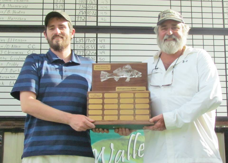 Brandon Romig (left) and Steve Romig (Right) with the Washington State Walleye Championship Corporate Cup Trophy.