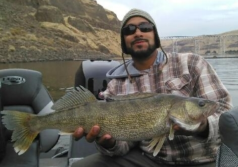 Eli with a nice Snake River walleye