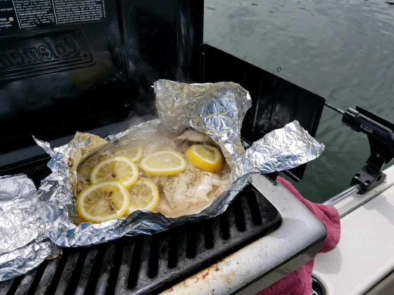 These fish went directly from Brad's hook to the grill. Can you call this a shore lunch when we grilled and ate it on the boat?