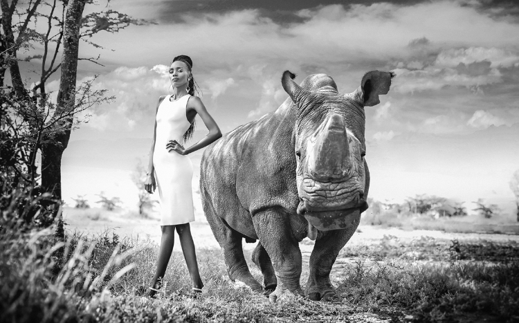 Sage Larock's hemp Gia dress with Sudan, the world's last male White Northern Rhino, who passed away in 2018 (Kenya,   Chantelle Melzer)