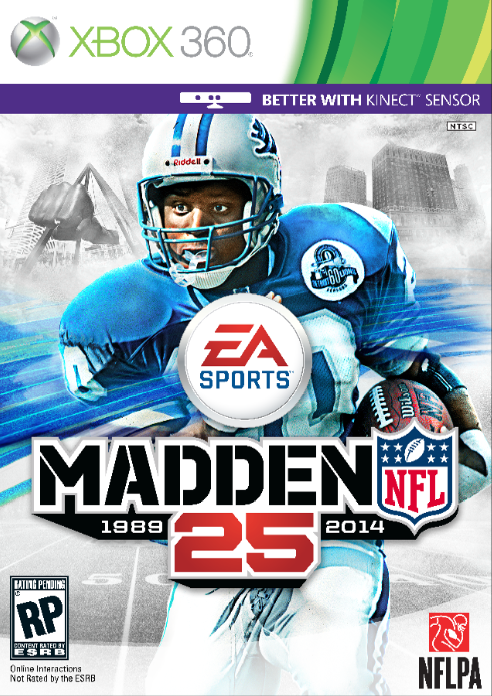 Cover art for the 25th anniversary edition of Madden. Note the Joe Louis fist appearance in the upper left.