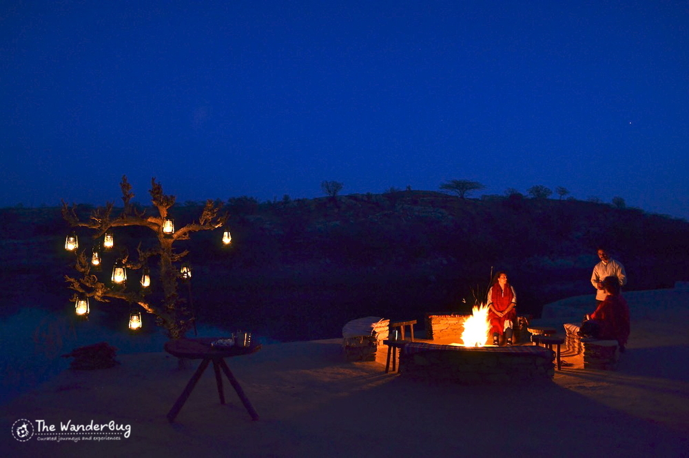 One of the best parts of Lakshman Sagar was the night sky. Thousands of bright stars,shooting stars with golden tails, a fire and some wine. What an experience!