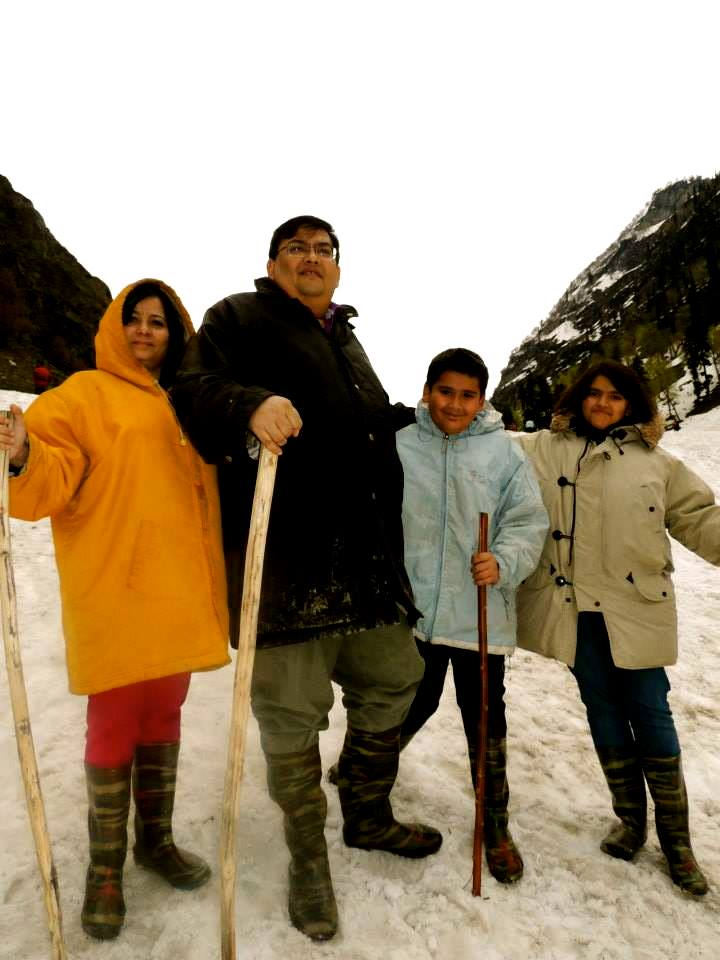 Aninda and his family in Gulamrg, Kashmir