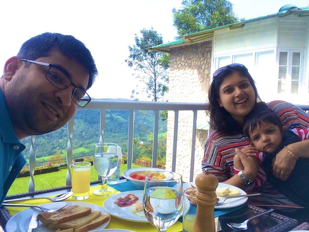 Priyanka and her son enjoying a hearty breakfast at their boutique stay in Munnar, Kerala.