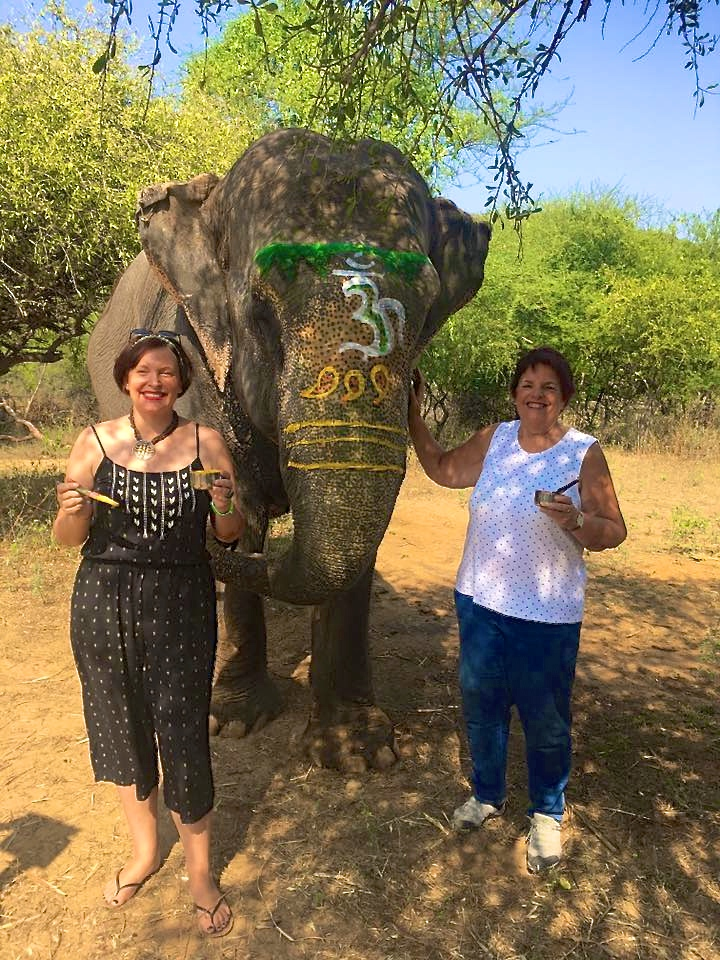 Makenzie and her older sister Debbie enjoying themselves at an elephant camp near Jaipur