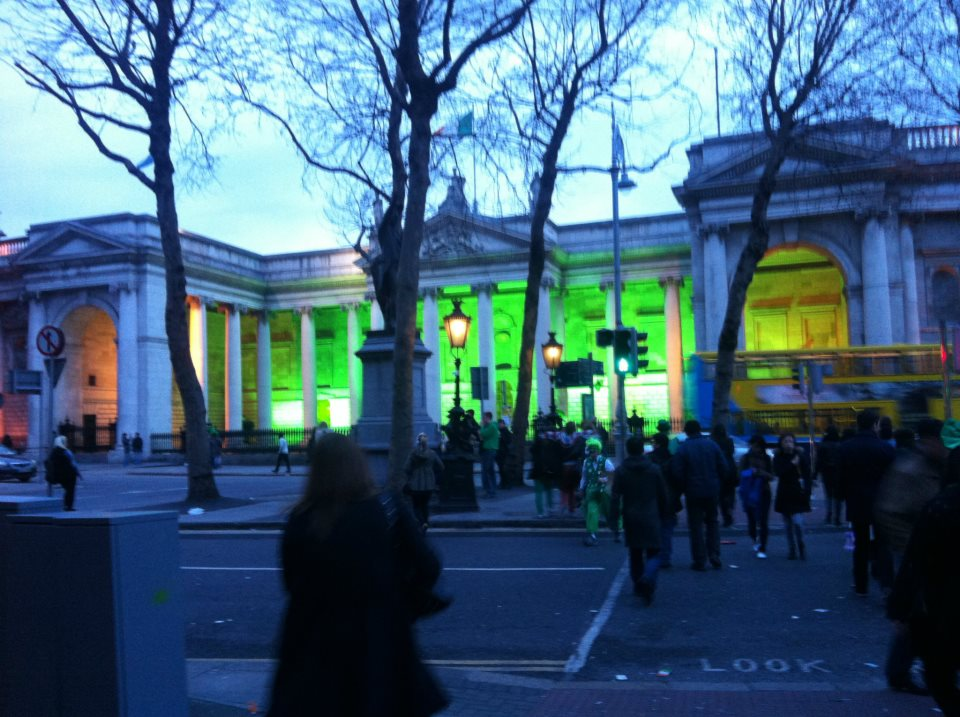 Trinity college had turned their lights green for St. Patrick's day