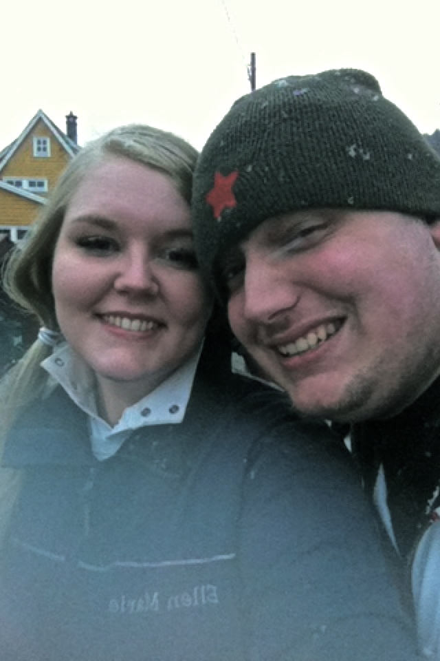 Ken and I walking to the bus in snow:)