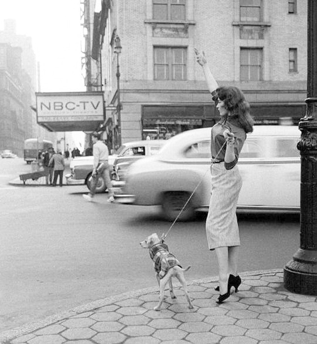Hailing a cab in New York City 1956