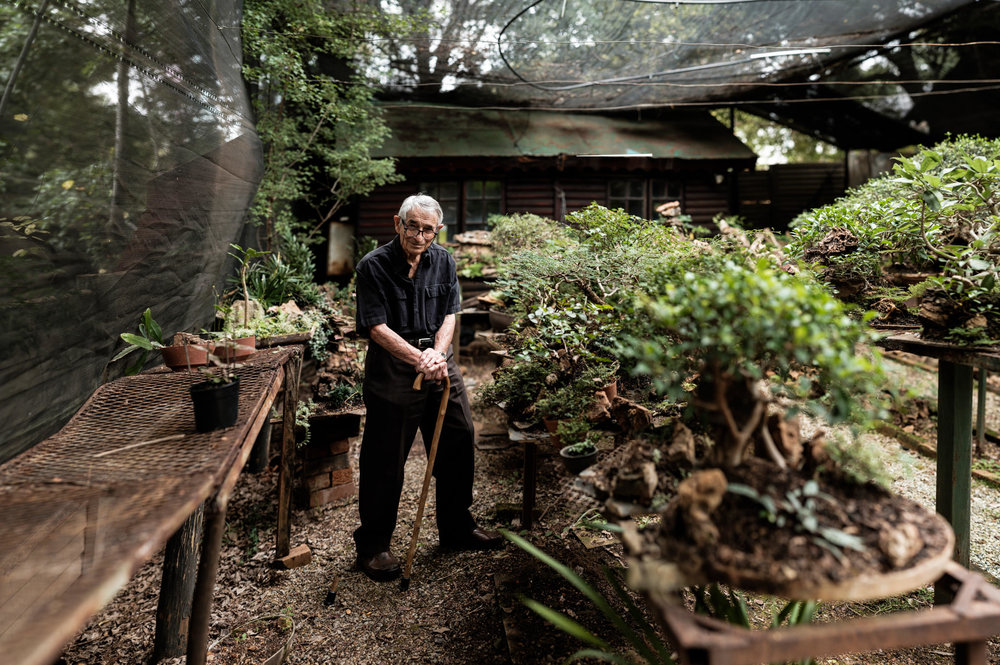 Oom Koos in his Bonsai garden