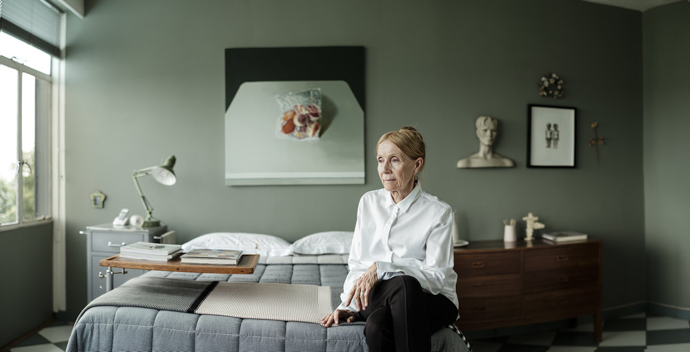 Margaret Nel. From a portrait sitting earlier this year. My friend Kelda contacted me and asked that I photograph some new images of her mother who is a painter. After the initial head shots I wanted to get a more environmental image and ended up in this room.