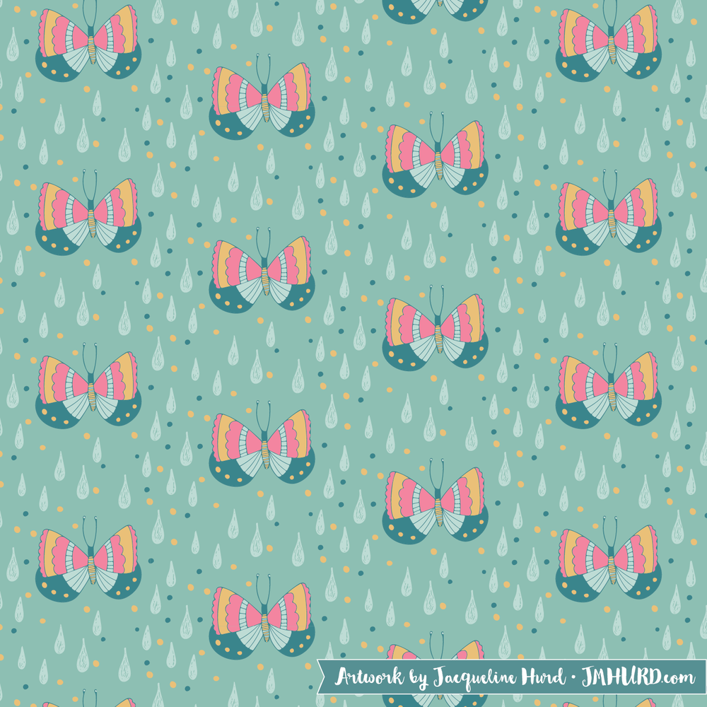 Rain Drops and butterflies.png
