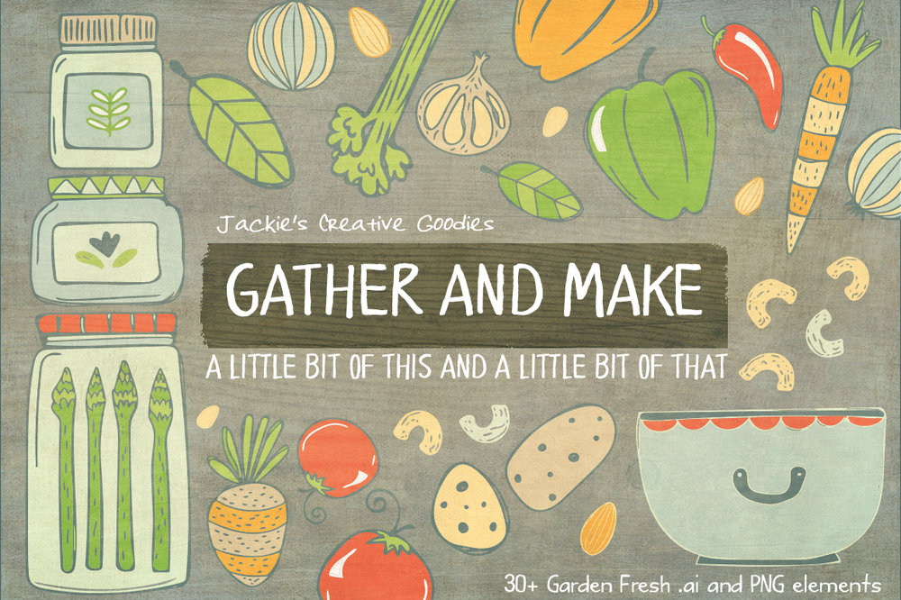 Gather and Make is available for purchase as a vector doodle collection on Creative Market
